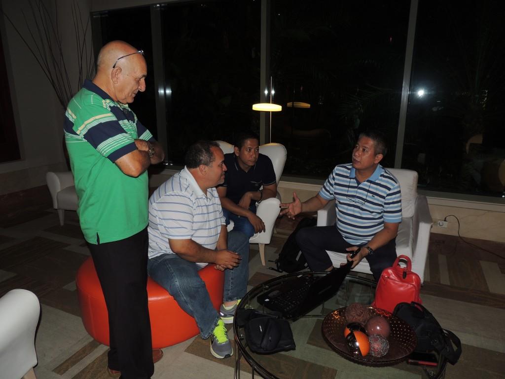 Friday night at the Doubletree Hilton lobby - Jose Ravelo, Luis Ocasio, Bobby Badilla and Billy Badilla. Courtesy Marilena Salmones