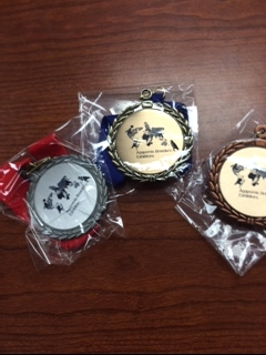 ABE custom medals - Gold, Silver and Bronze for 1st, 2nd and 3rd place.