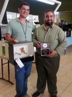 ABE judge Warner Lopez and winner of the Eyering & Rares Division, Fabio Tarazona - 2/28/15 Bayamon, PR. Courtesy Luis Ocasio