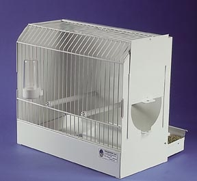 "14"" Long x 7"" Wide x 12"" High 1/2 inch bar spacing Handles on top 2 wooden perches Tray removes from back Does not include water container shown on picture White Gloss, powder-coated, Non-toxic Side of cage has removable door for easy access into cage"